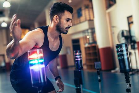 Sportsman using a visual stimulus system