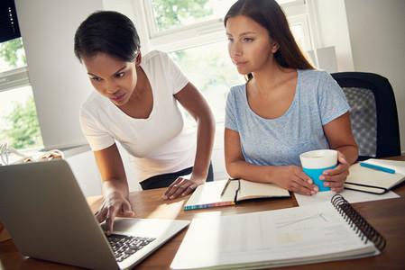 Women browsing laptop while doing the paperwork