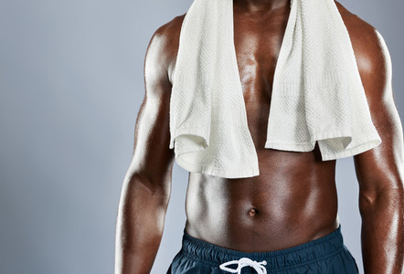 Cropped muscular chest of African man