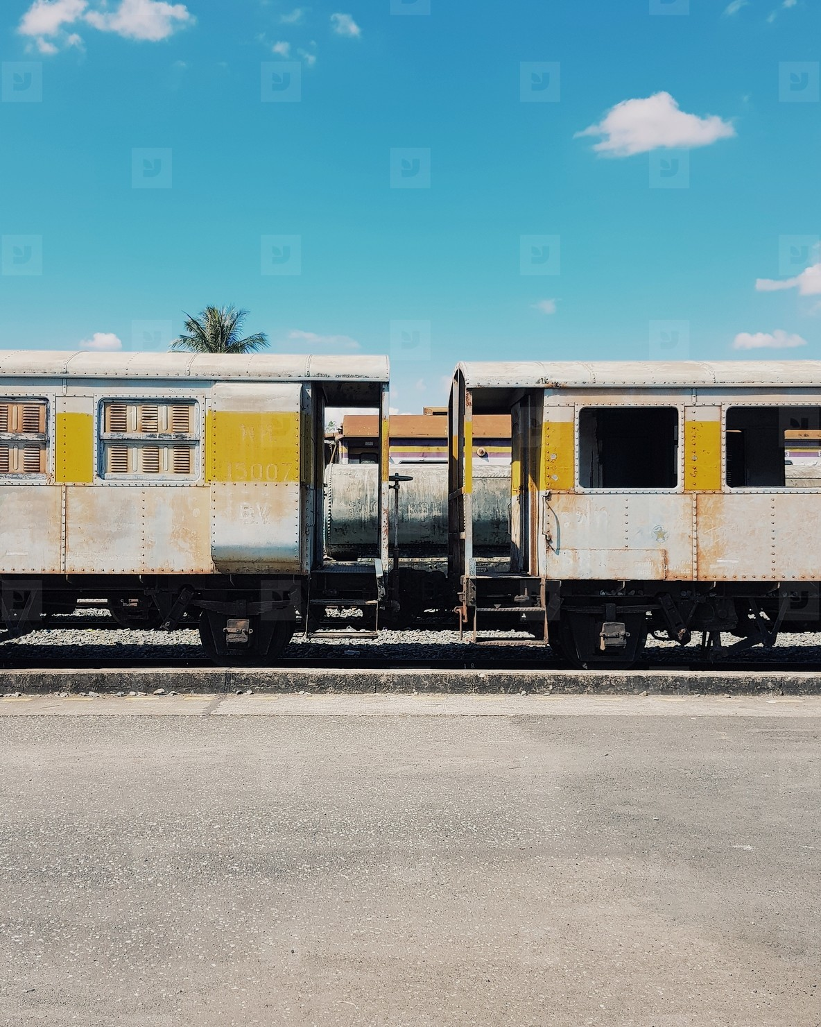 Train bogie with blue sky