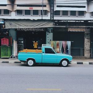Classic blue pickup car