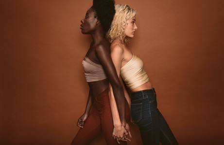 Diverse females standing on brown background