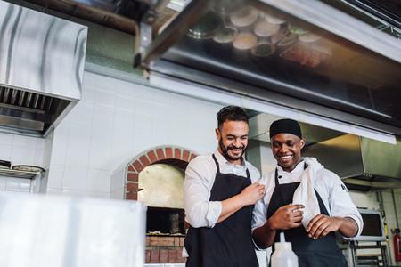 Smiling professional chefs working in restaurant kitchen