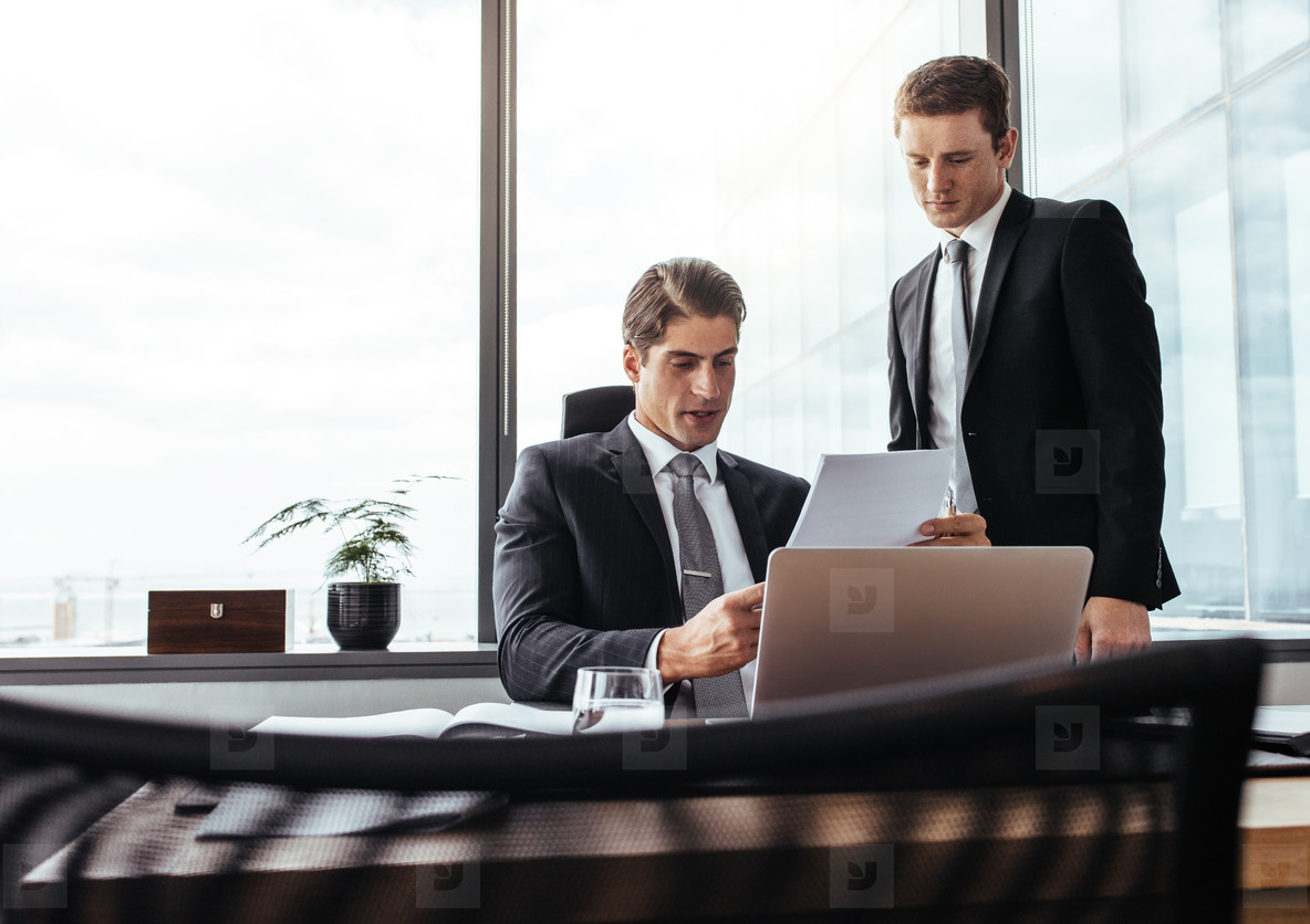 Corporate professionals over viewing documents