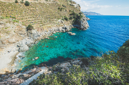 Scenic view of beautiful mediterranean sea lagoon with turquoise water
