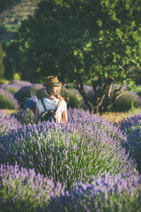 Young woman with backpack standing in lavender field  Isparta  Turkey