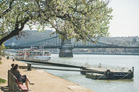 BUDAPEST  HUNGARY   MARCH 29  2017 Danube Pest embankment in spring