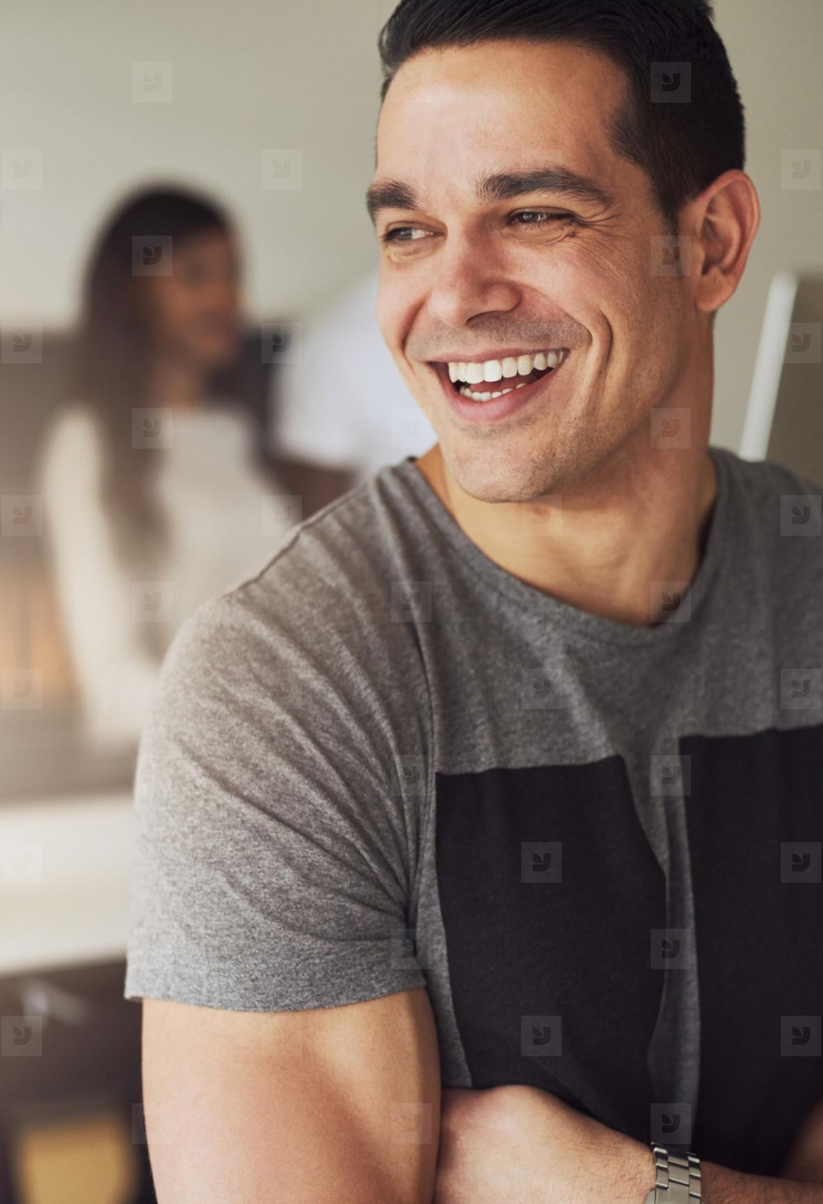 Portrait of man looking away in office
