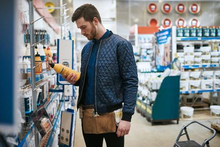 Handyman shopping for supplies