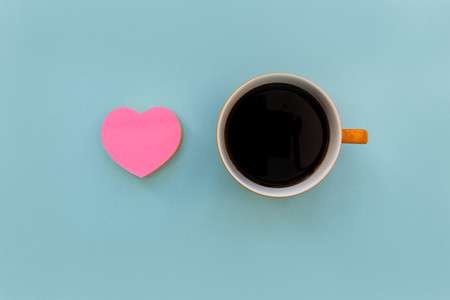 Love coffee with pink heart shape and coffee cup