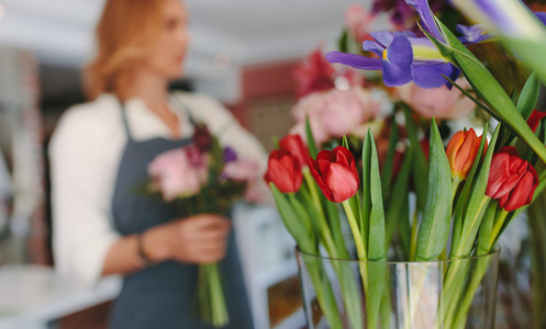 Fresh Tulip flowers at florist shop