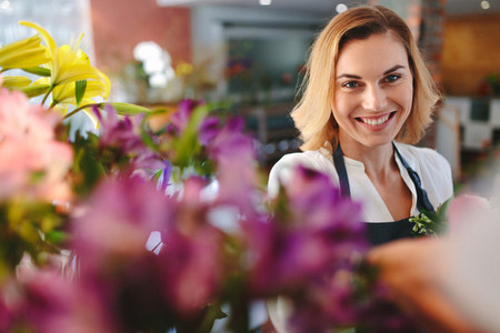 Happy florist    Successful small business owner