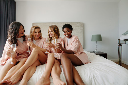 Females celebrating hen party of bride