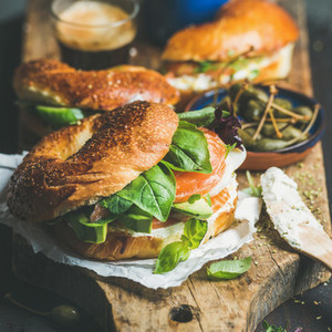 Healthy breakfast with bagels and espresso coffee