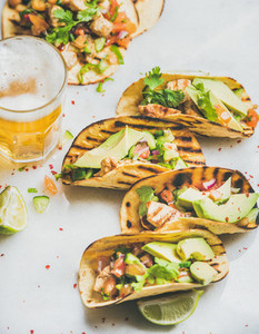 Healthy corn tortillas with grilled chicken fillet avocado and beer