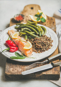 Roasted salmon with quinoa pepper and poached green beans