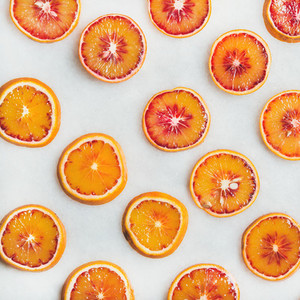 Natural fruit pattern concept with blood orange slices  square crop