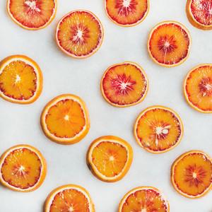 Natural fruit pattern concept with blood orange slices square crop