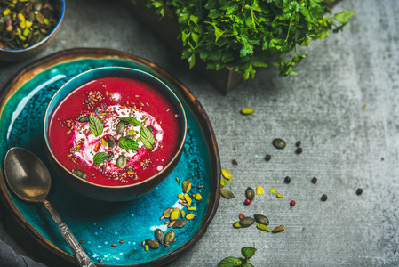 Spring beetroot soup with mint and seeds  copy space