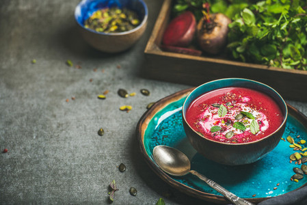 Spring beetroot soup with mint chia flax and pumpkin seeds