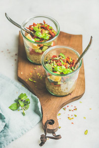 Healthy salad with quionoa  avocado  dried tomatoes and mint