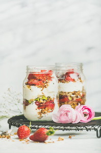 Greek yogurt granola fresh strawberry breakfast in jars raninkulus flowers