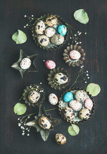 Colorful quail eggs  dried wild flowers and leaves  Easter celebration