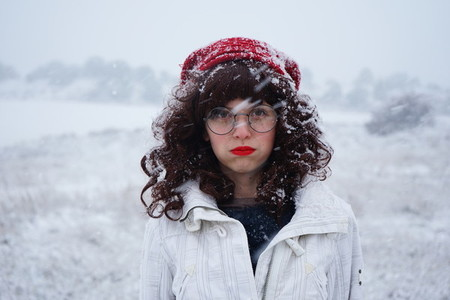 Young woman enjoying a snowy day
