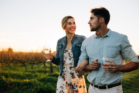 Couple spending time together at vineyard