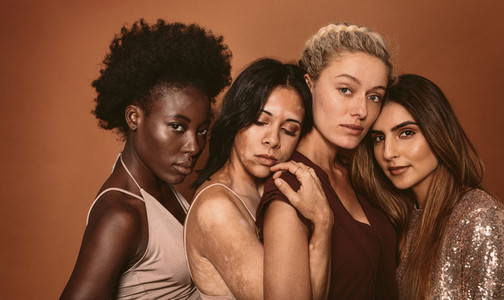 Multi ethnic females with different skin types