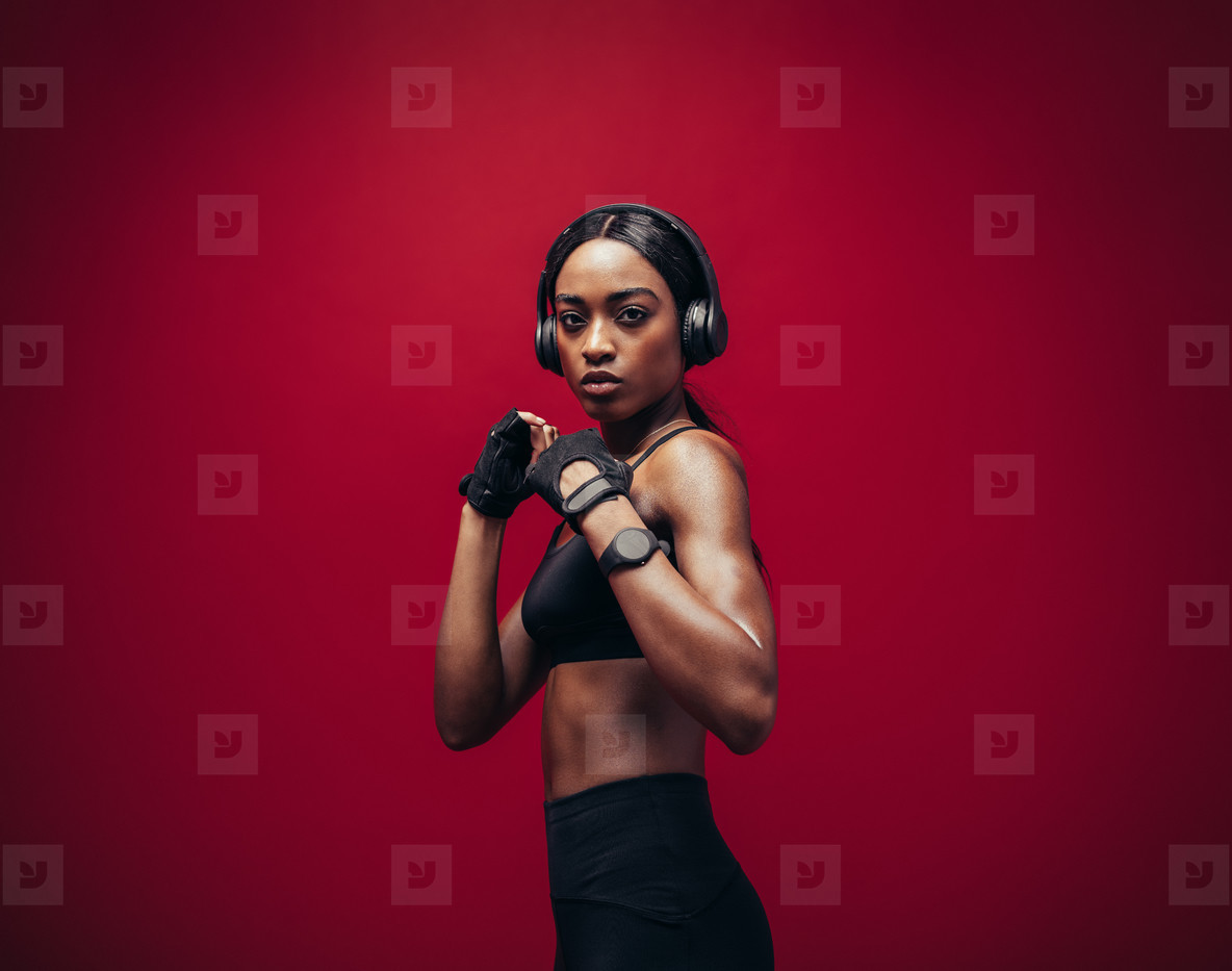 Female boxer ready for fight