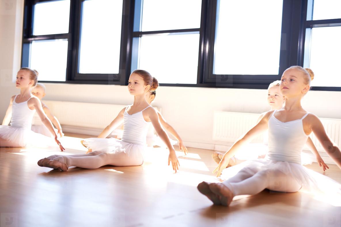 Group of cute little ballet girl