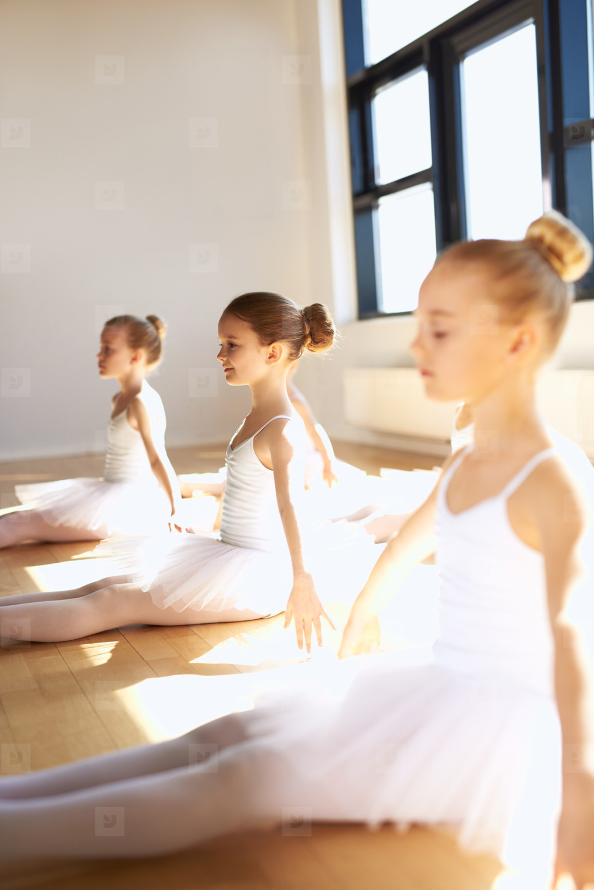 Group of cute little ballet girl