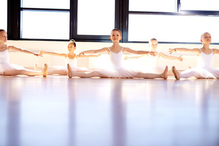 Group of young ballerinas