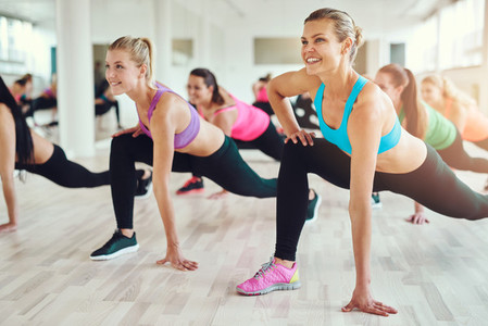 Healthy and fit women doing fitness