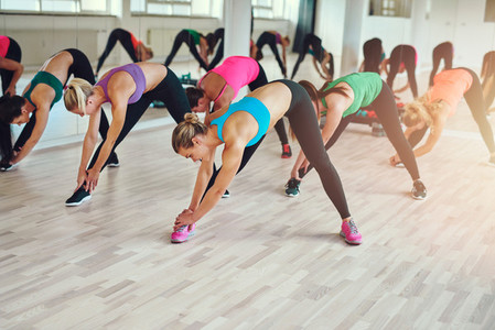 Group of women doing exercise together