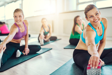 Group of healthy women in a fitness class