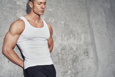 Close up fitness concept portrait of white man