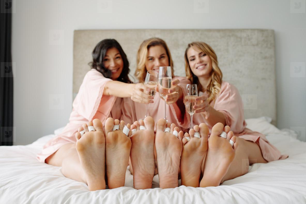Friends celebrate a bachelorette party of bride