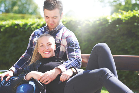 Loving couple relaxing in the park