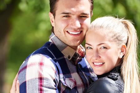 Romantic happy couple with lovely smiles