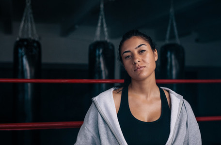 Female boxer inside a boxing ring
