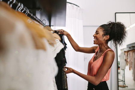 Woman entrepreneur in her fashion boutique