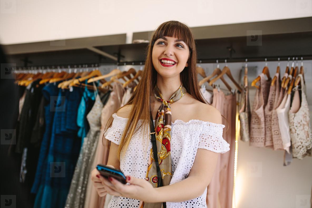 Woman at a fashion boutique