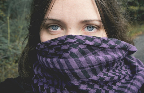 Blue eyed girl with scarf