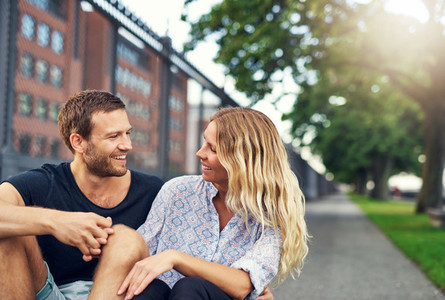 Couple laughing at each other