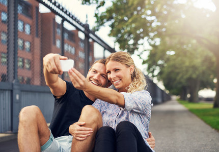 Happy Couple Taking a Selfie