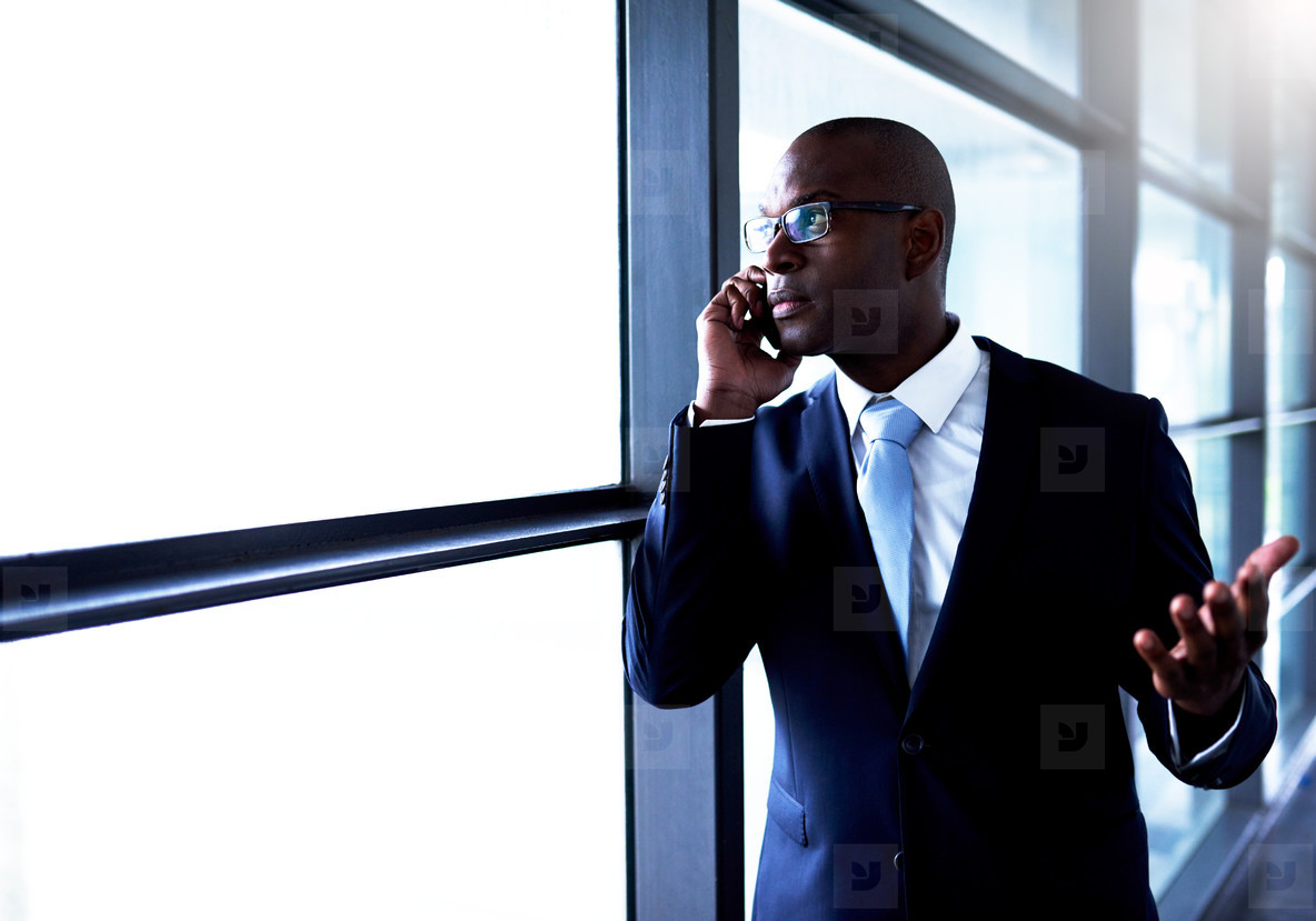 Businessman Talking on Phone Inside the Building
