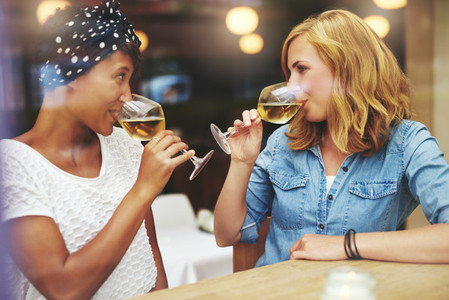Two attractive women meeting up for wine