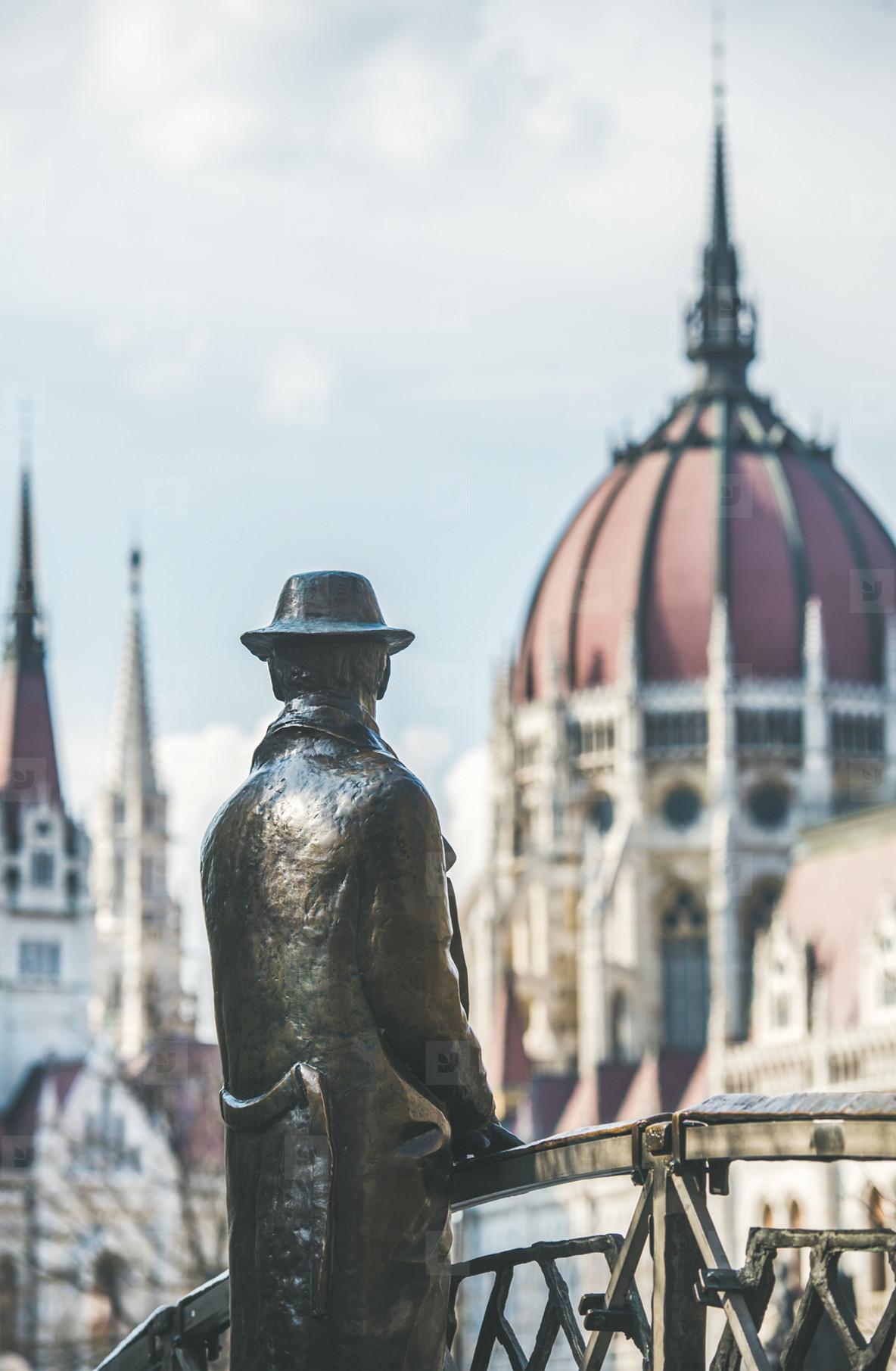 Bronze monument of Hungarian national hero Imre Nagy  Budapest